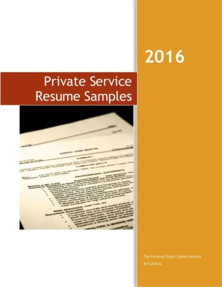 Resume Templates for the Modern Household Manager 2016 The Personal Touch Career Services 8 11 2016 Private Service Resume  Samples