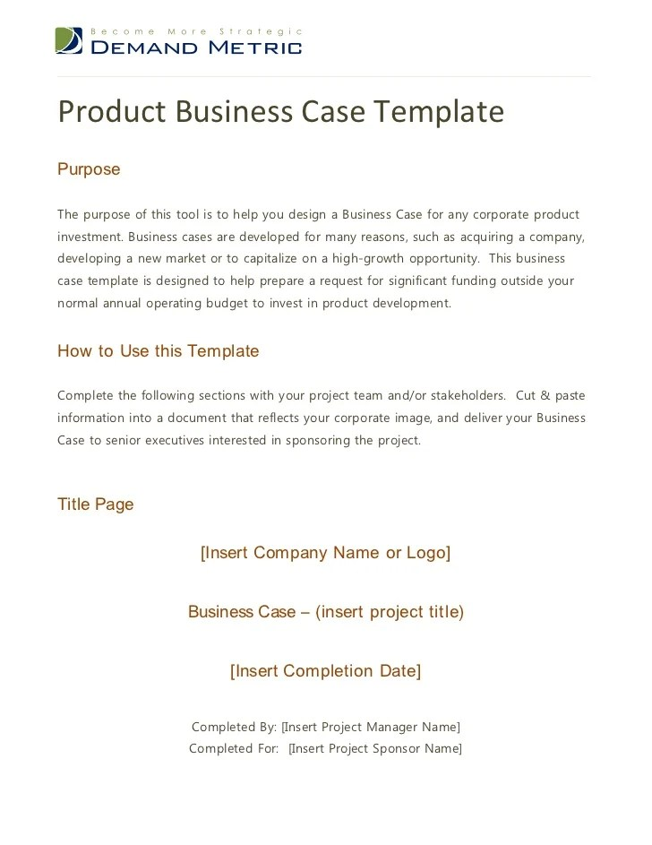 Simple Business Case Template the purpose of this is to capture – Simple Business Case Template