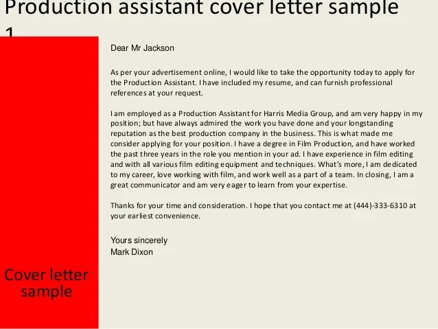 cover letter sample cover letter examples production assistant cover