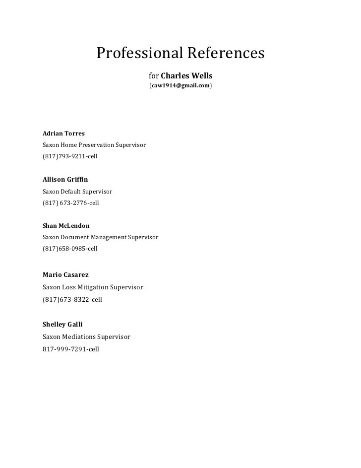 Resume Examples Professional Resume References Template Sample