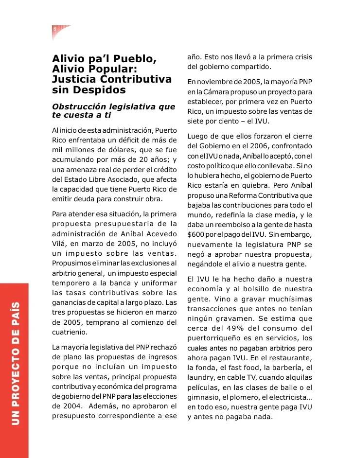 6 Alivio pa'l Pueblo, año. Esto nos llevó a la primera crisis ...