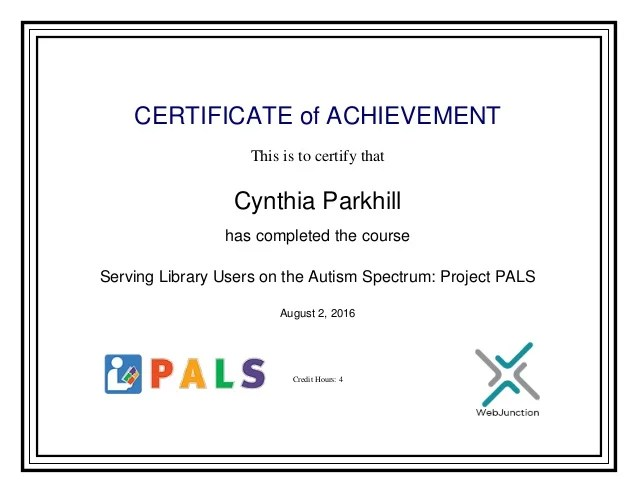 Serving Library Users On The Autism Spectrum Certificate Of