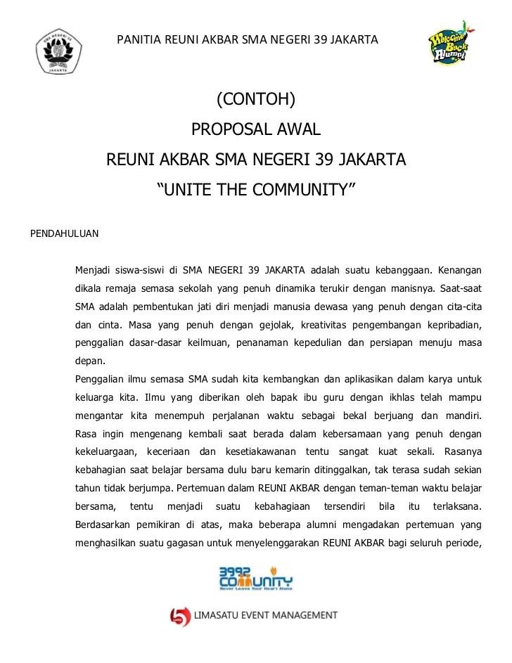 Contoh Proposal Reuni Akbar Sma Negeri 39
