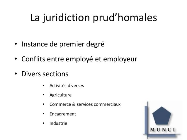 Prsentation Munci Et La Juridiction Prudhomales
