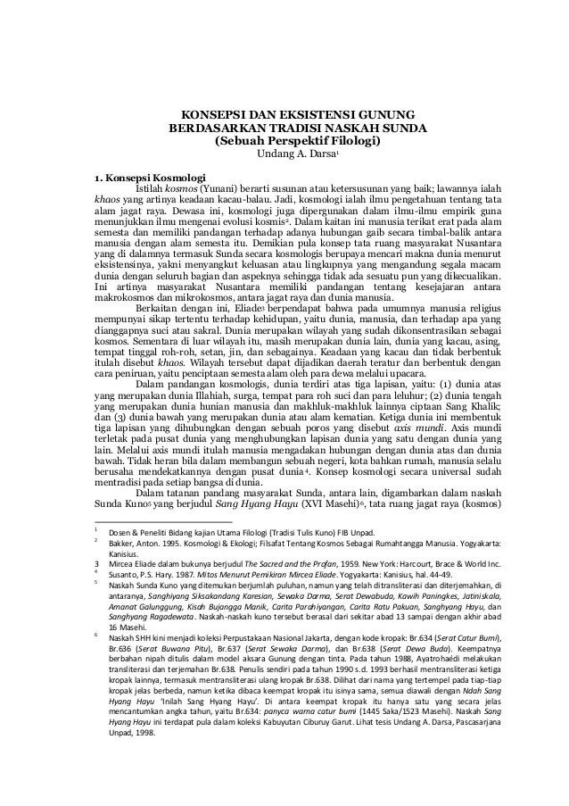 KONSEPSI DAN EKSISTENSI GUNUNG BERDASARKAN TRADISI NASKAH SUNDA (Sebuah Perspektif Filologi) Undang A. Darsa1 1. Konsepsi ...