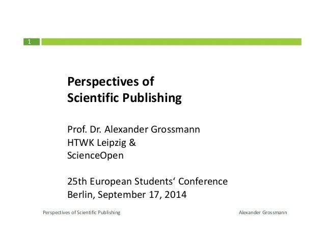 Perspectives of Scientifc Publishing