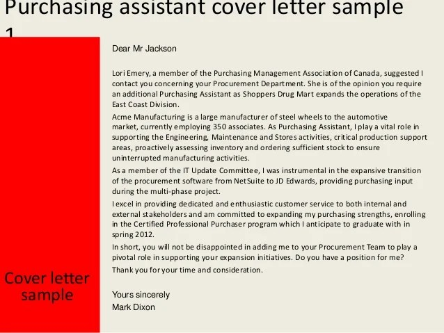 purchasing assistant cover letter