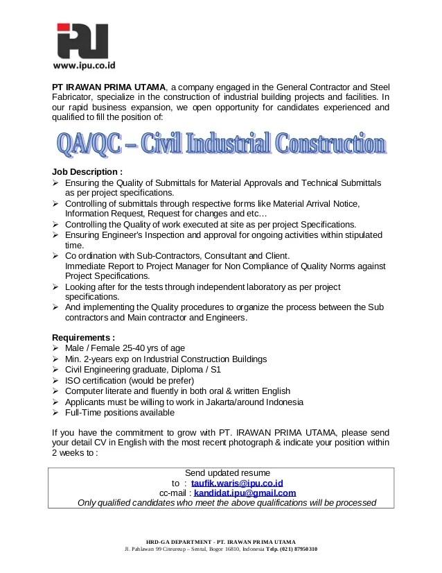 Qa Qc Engineer Cv Format. engineer cv examples civil construction ...