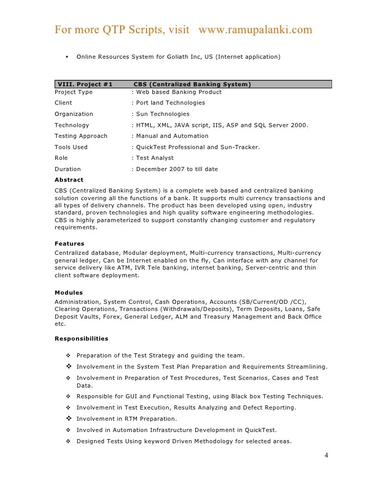 Automation tester resume