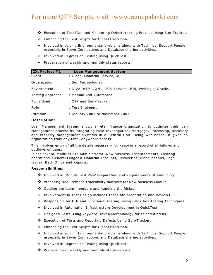 Qtp Automation Tester Sample Resume
