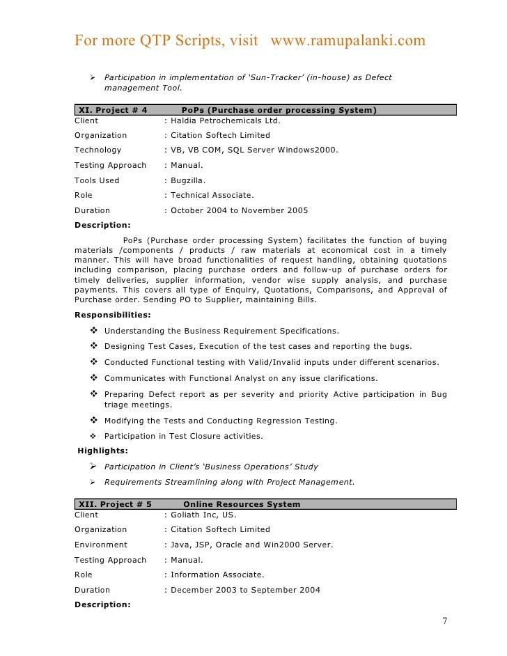Mainframe Tester Resume Sample Qtp Testing Fresher