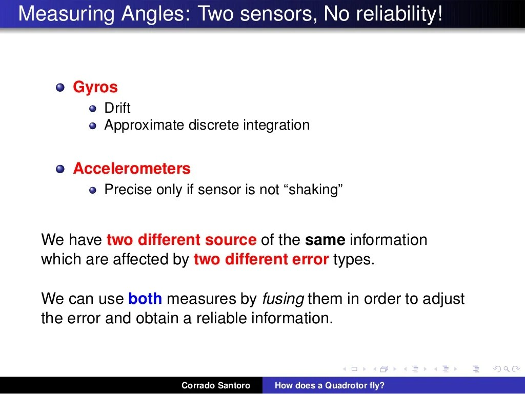 Measuring Angles: Two sensors, No reliability! Gyros Drift Approximate discrete integration Accelerometers Precise only if...