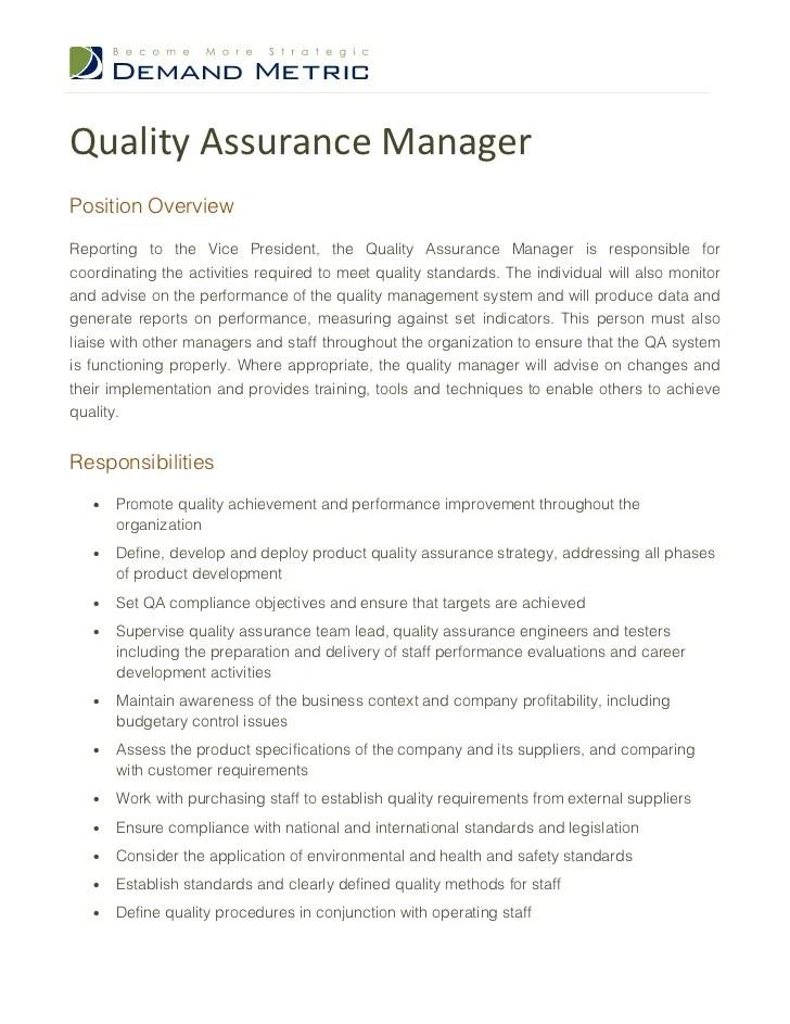 Qa Manager Resume Sample. quality assurance manager resume samples ...