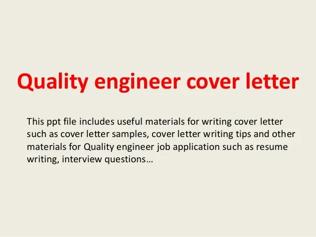 cover letter for quality engineer position