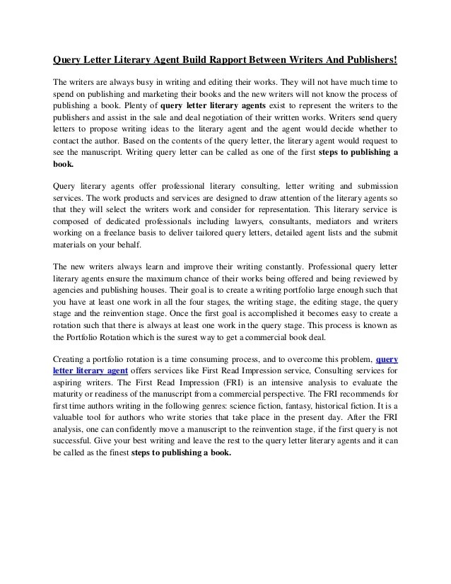 Cover Letter For Literary Agent