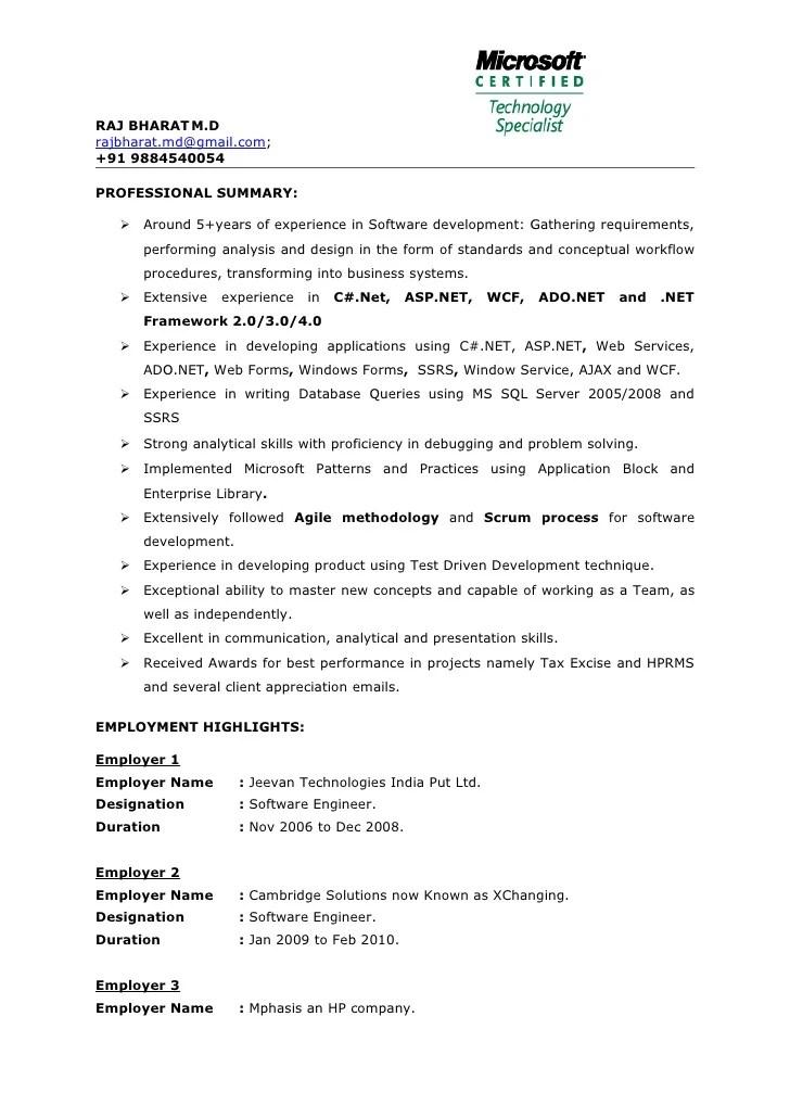 Raj Bharat Mcts Certified 5 Yrs Exp Dotnet Professonal