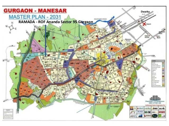 Location Map RAMADA ROF AnandaSector 95 Gurgaon Affordable Housing Policy project FLATS at (WAZIRPUR Pataudi ROAD )