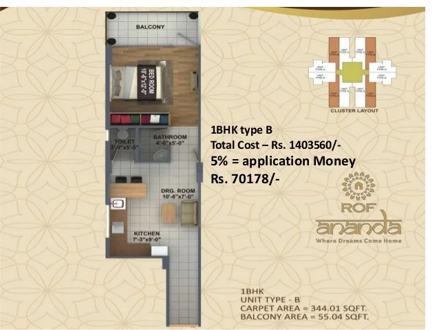 1BHK type B Total Cost – Rs. 1403560/- 5% = application Money Rs. 70178/-