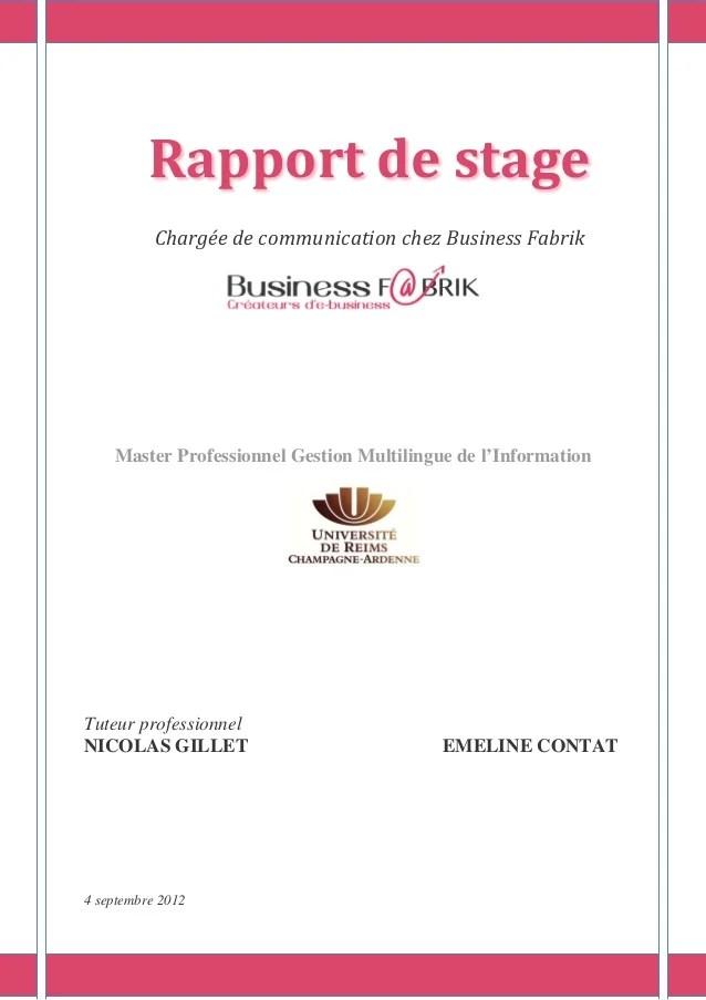 Rapport De Stage De Fin Dtudes Charge De