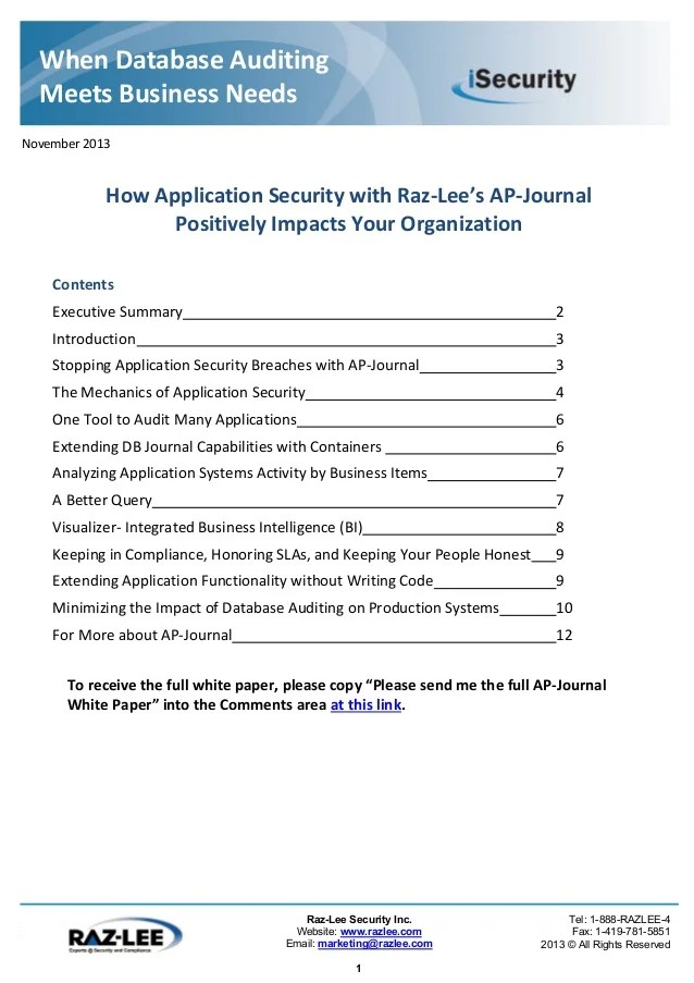 Database Journal Security