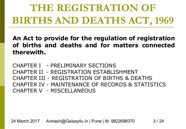 The Registration Of Births And Deaths Act 1969