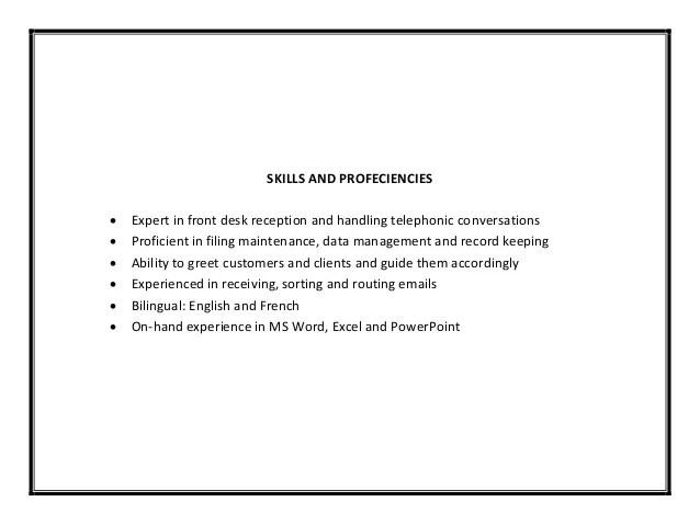 receptionist sample pdf
