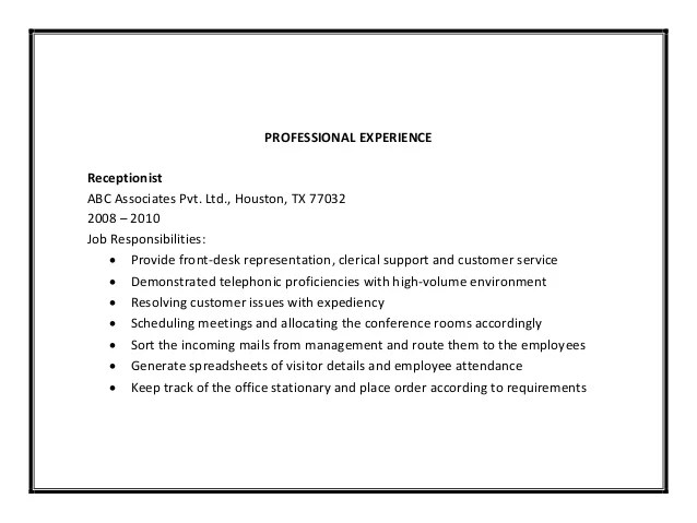 Salon Receptionist Resume Duties. free resume templates resume ...