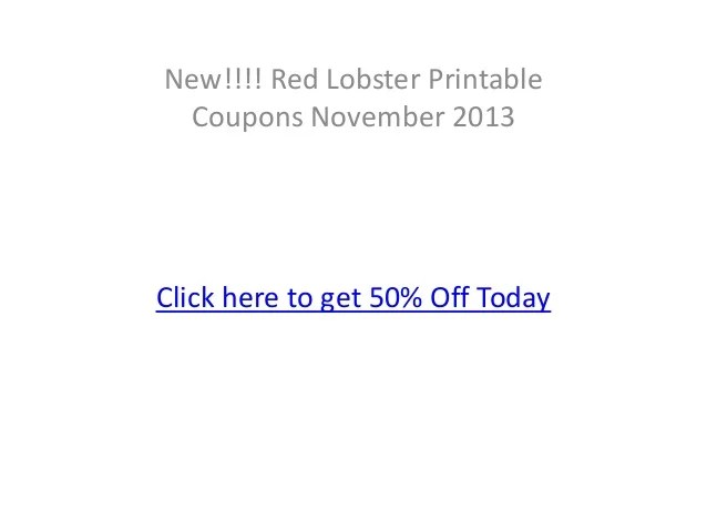 Red Lobster Coupons November 2013