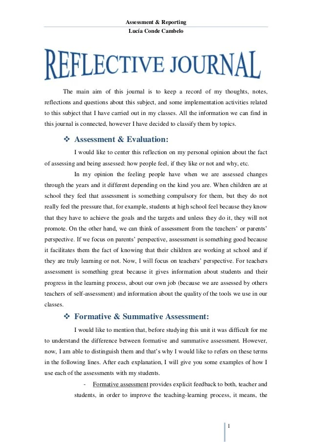 Sample reflective essay high school