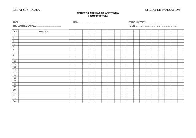 Registro Auxiliar De Asistencia 2014