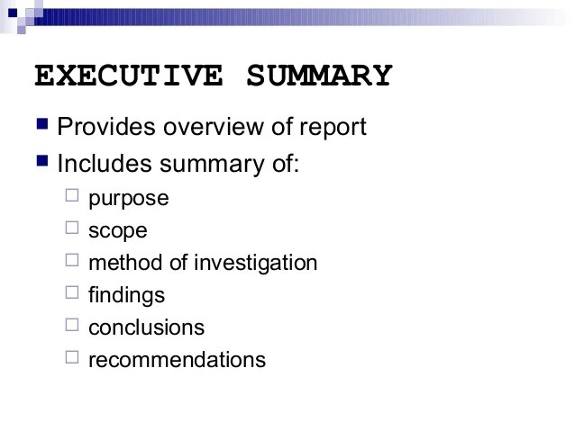 How to write an executive summary for a lab report