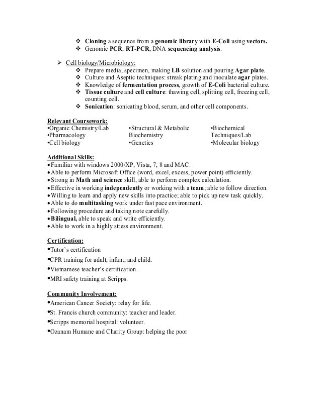 resume of anh q nguyen research associate biochemist in san diego ca