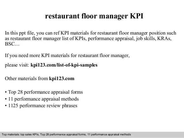floor manager job description