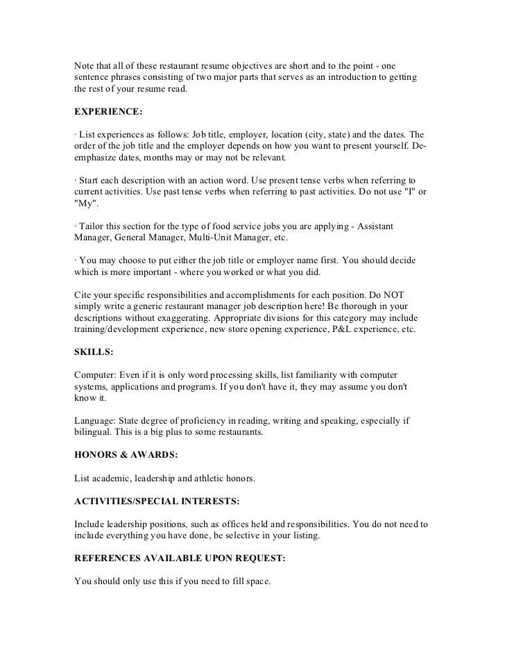 Restaurant Management Resume Objective Objectives For Hotel
