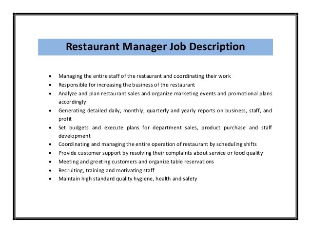 resume responsibilities examples jobs restaurant manager ...