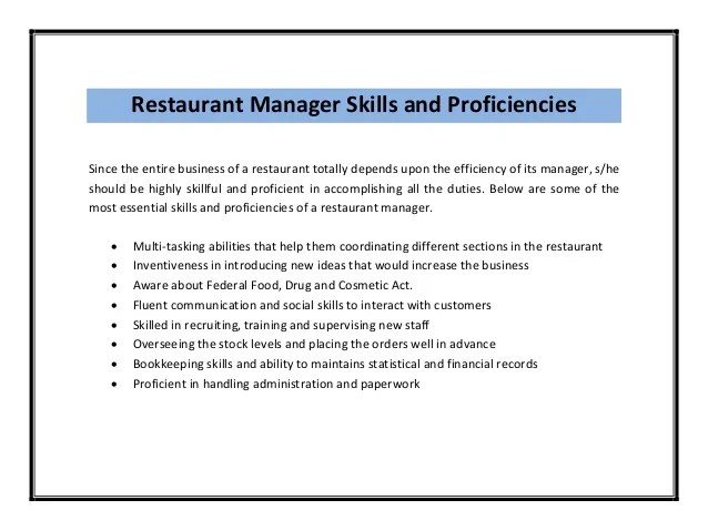 Restaurant Manager Resume Duties. Sample Restaurant Manager