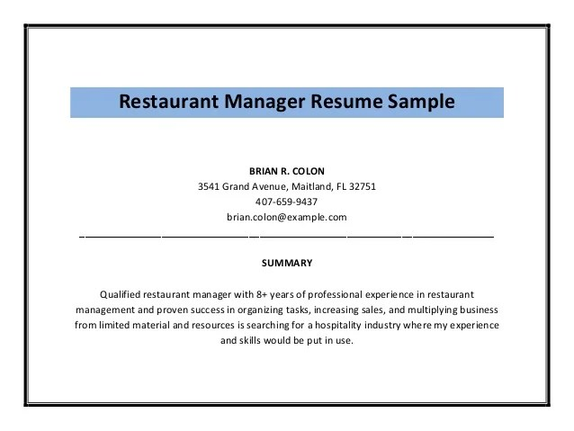 Resume Restaurant Manager Duties. Duties Resume Sample Bar