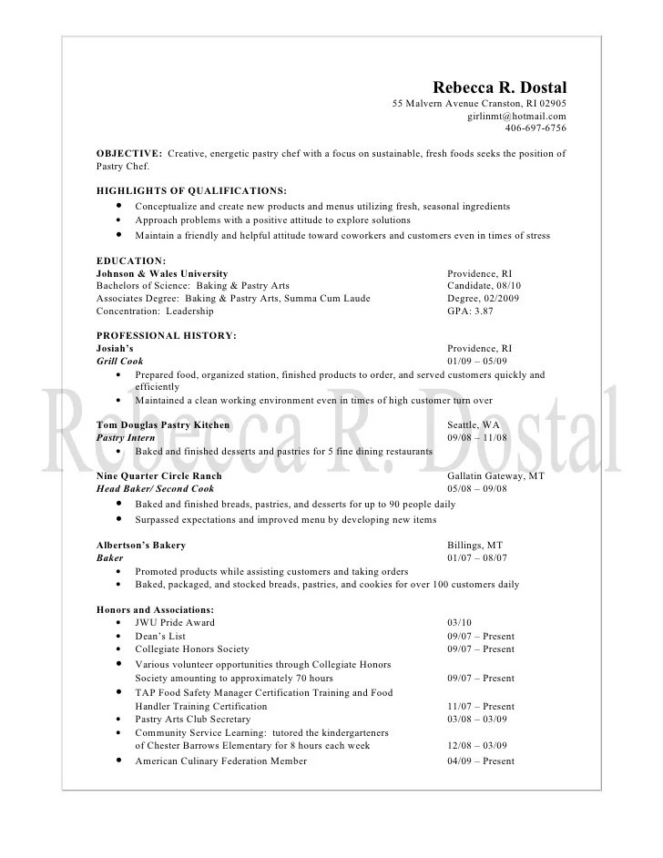 Pastry Chef Resumes Samples. Chef Resume Examples Chef Culinary