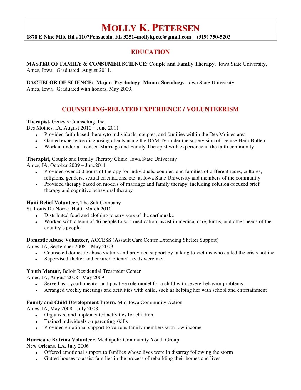 marriage and family therapist resume samples what is a resume