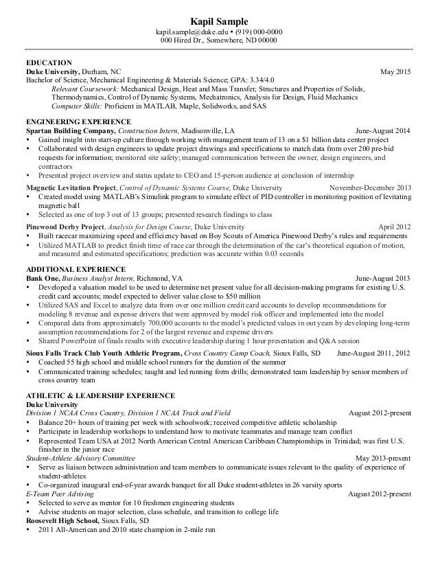 curriculum vitae sles mechanical engineers