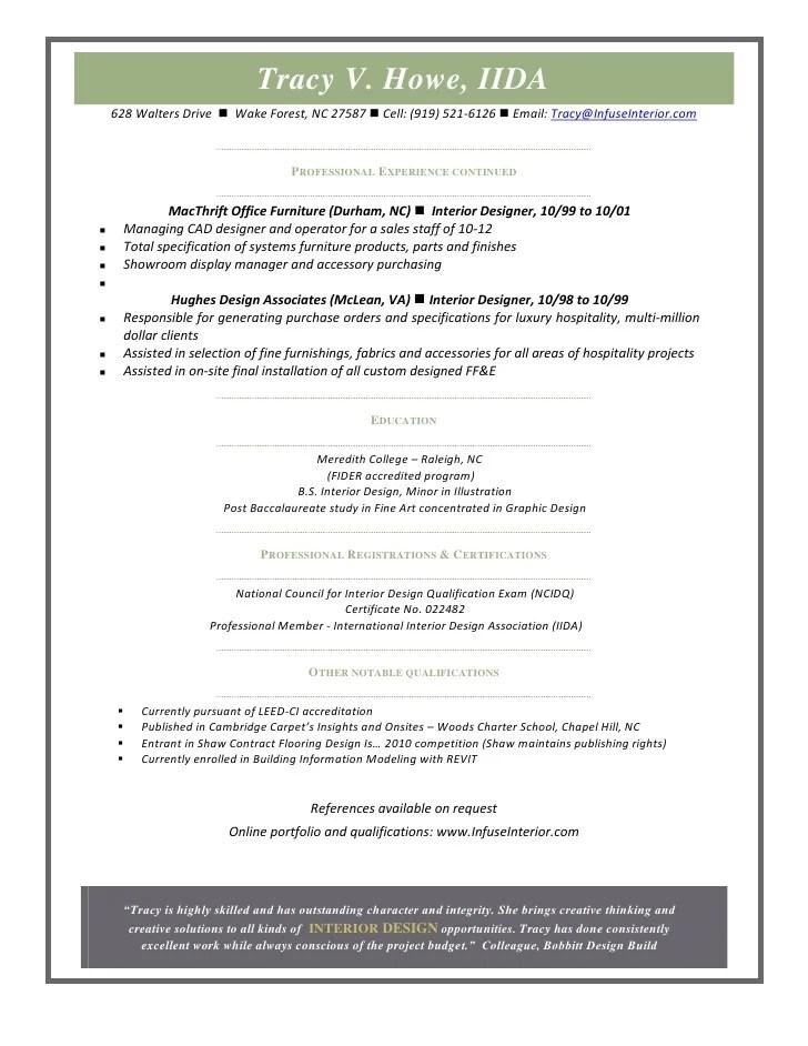 commercial interior design resume