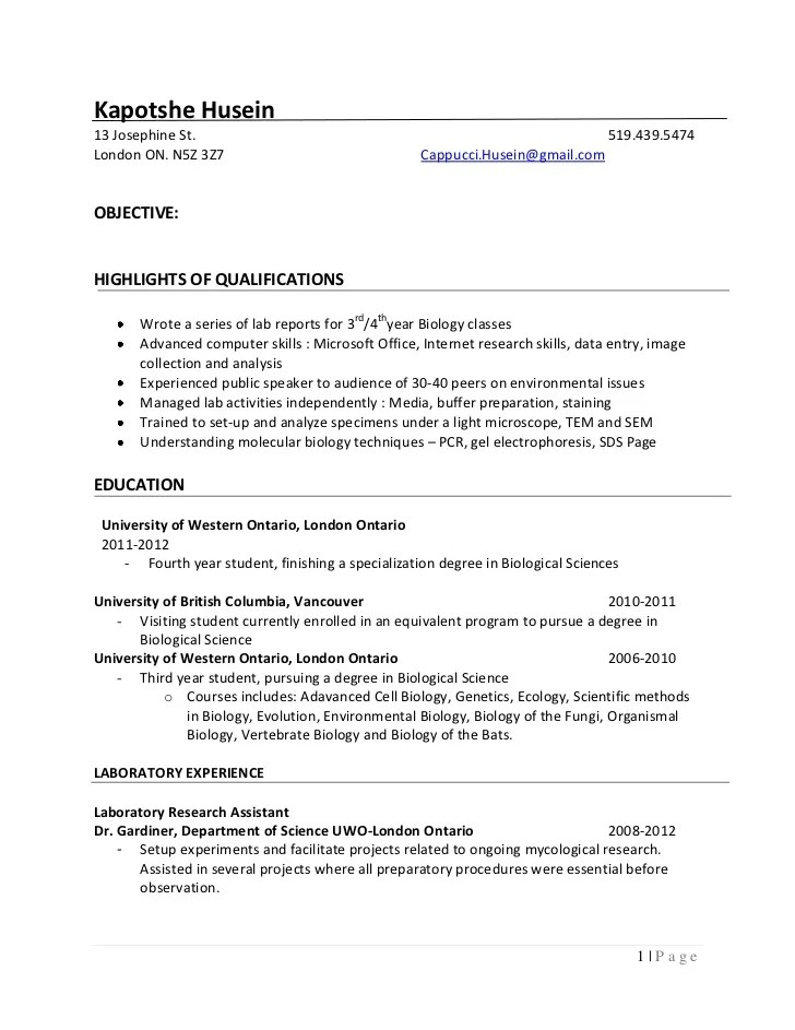 Biology research assistant resume sample
