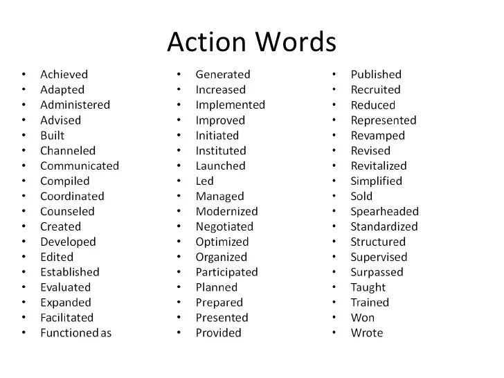 list of action words for resumes