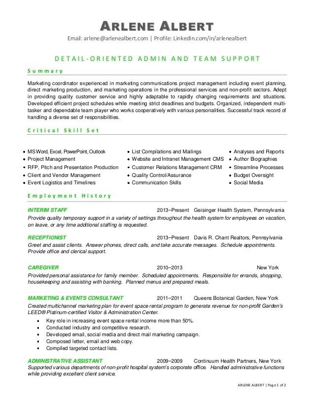 marketing communications events coordinator resume