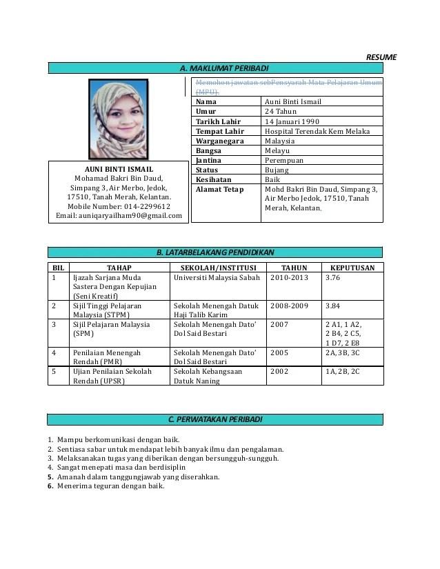 cover letter for resume melayu