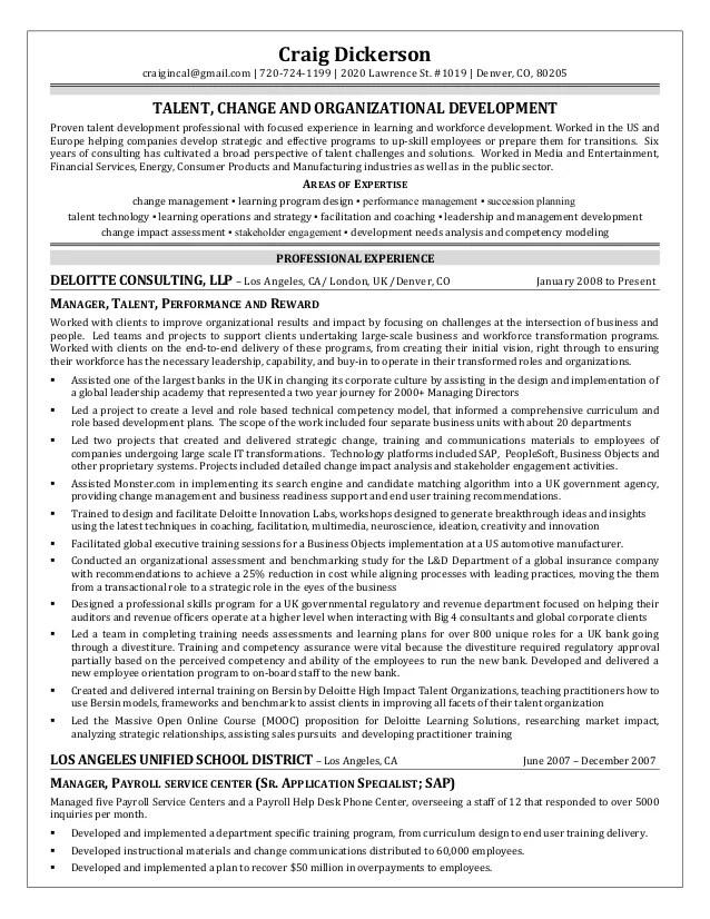 craig dickerson resume talent management organizational development