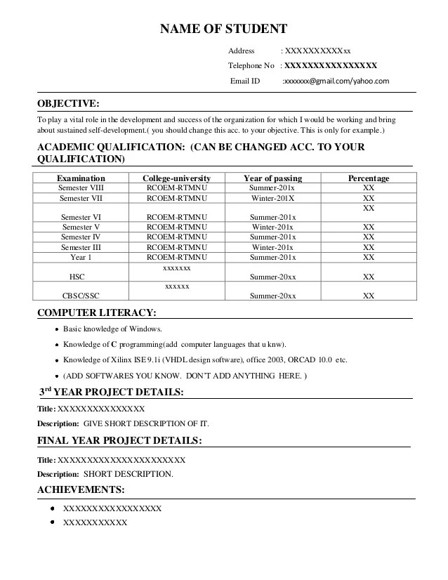 resume format for on campus freshers 39 placements