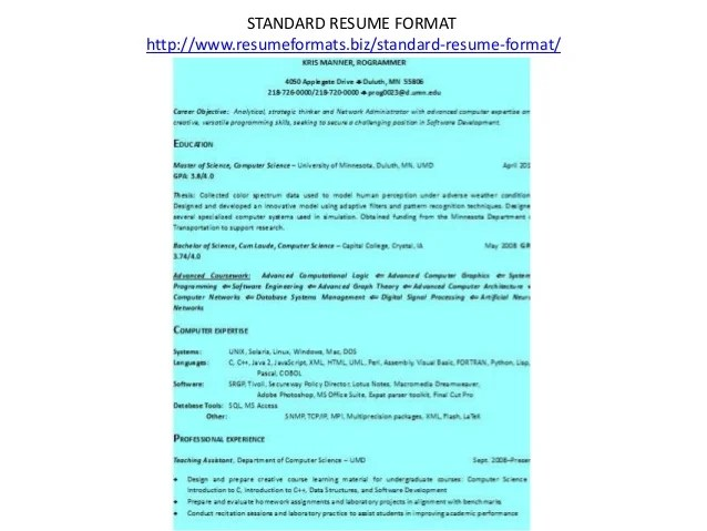 resume download resume format amp write the best resume a standard