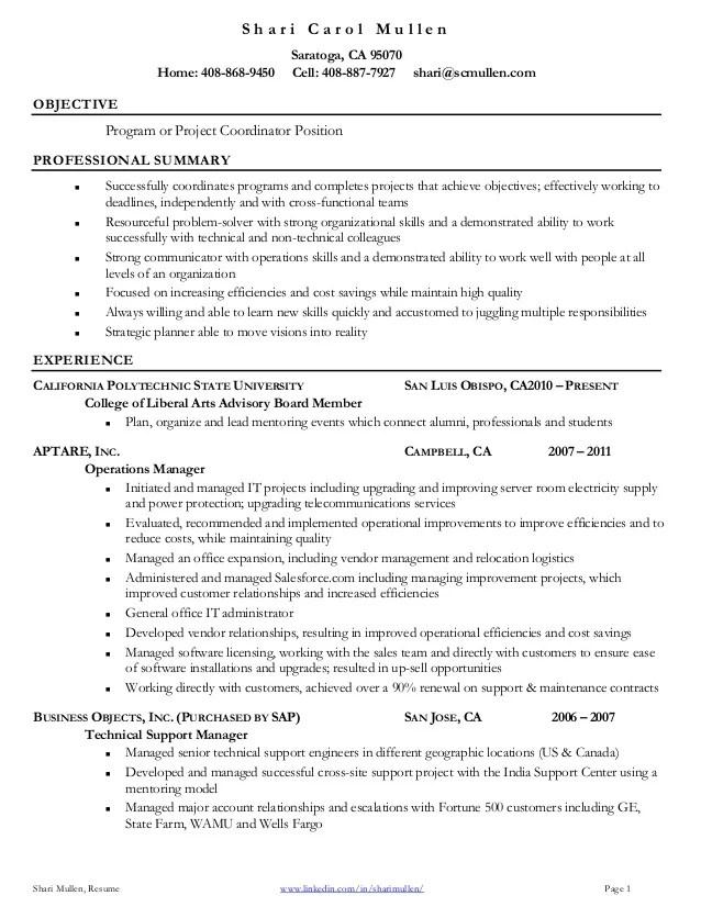 project coordinator resume s h a r i c a r o l m u l l e n shari