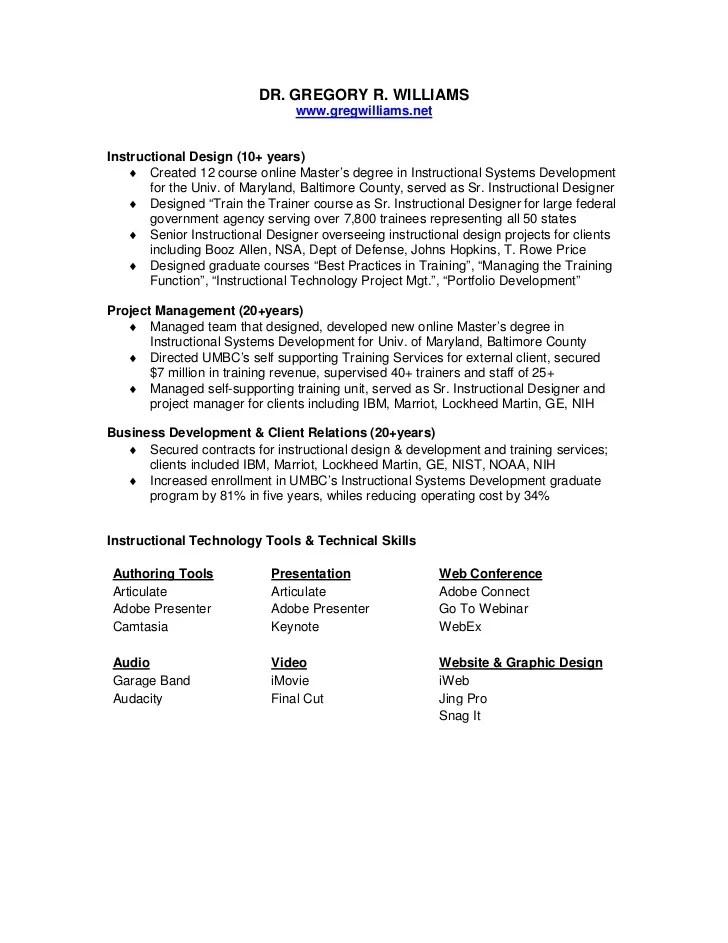 resume of greg williams